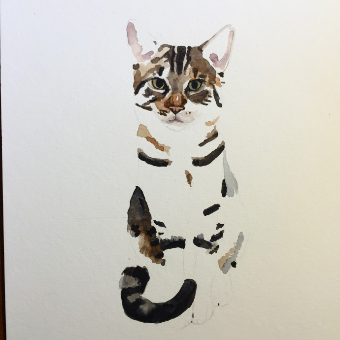 "Gustav (Unfinished) 9""x12"", Watercolour, 2015. (Commission)"